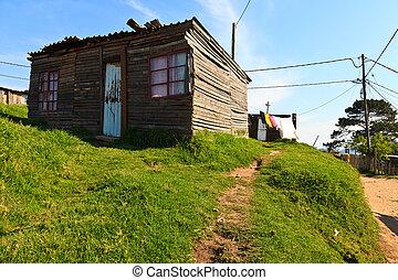 áfrica, township, sul, casa