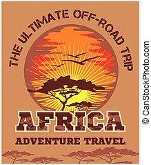 áfrica, viagem, -, emblem., vetorial, fora-estrada, extremo