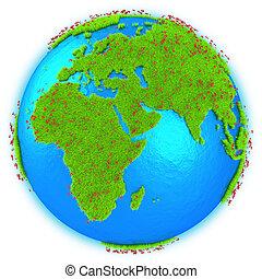 áfrica, y, europa, en, tierra de planeta