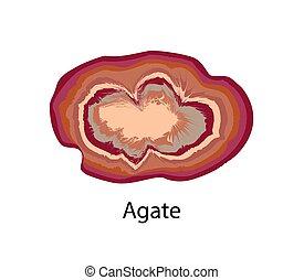 ágata, el consistir, roca, cryptocrystalline, primarily