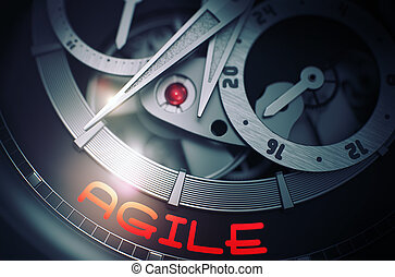 ágil, 3d., relógio pulso, automático, mechanism.
