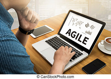 ágil, agilidade, nimble, rapidamente, rapidamente, conceito