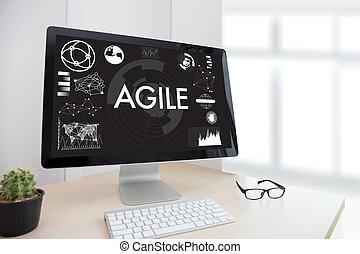 ágil, agilidade, nimble, rapidamente, rapidamente, conceito, homem negócios, trabalhando