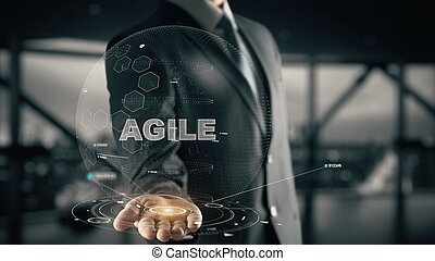 ágil, com, hologram, homem negócios, conceito