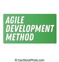 ágil, desenvolvimento, método, anunciando, adesivo