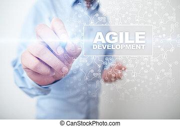 ágil, desenvolvimento, software, e, aplicação, programação, conceito, ligado, virtual, screen.