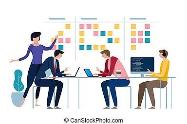 ágil, equipe negócio, de, programador, trabalhando, e, fazer, algum, planificação, ligado, a, scrum, board., whiteboard, e, processo, trabalho equipe, esquema, methodology., vetorial, ilustração