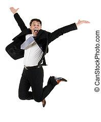ágil, homem negócios, pular, ar