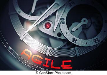ágil, ligado, a, automático, relógio pulso, mechanism., 3d.