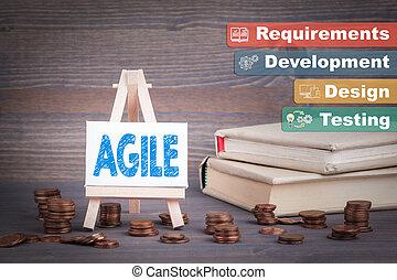 ágil, software, desenvolvimento, negócio, concept., miniatura, cavalete, com, mudança pequena