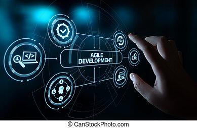 ágil, software, desenvolvimento, negócio, internet, techology, conceito