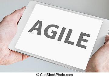 ágil, texto, exibido, ligado, touchscreen, de, modernos, tabuleta, ou, esperto, device., conceito, de, modernos, software, desenvolvimento, metodologia, para, smartphones.