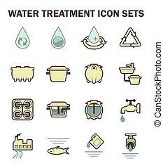 água, ícone, conjuntos