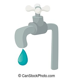 água, ícone, estilo, torneira, caricatura