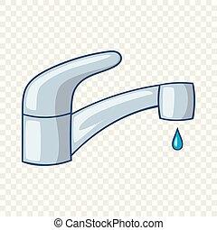 água, ícone, torneira, estilo, caricatura