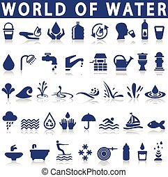 água, ícones