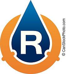 água, óleo, cano, r, soluções, letra