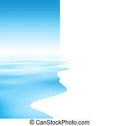 água, abstratos, silueta, reflexão, fundo