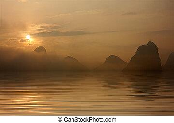 água, amanhecer, sobre