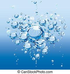 água, amor, bolhas