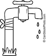 água, antigas, torneira, caricatura