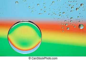 água, arco íris, gotas