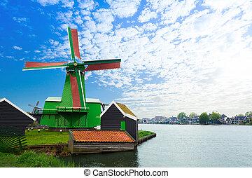 água, autêntico, moinhos, canal, zaandam
