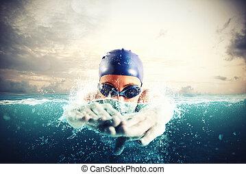 água azul, atleta, nada, profundo