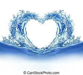 água azul, coração