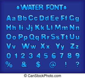 água azul, fonte