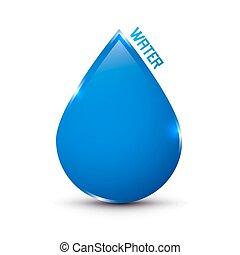 água azul, gota, ícone, isolado, branco