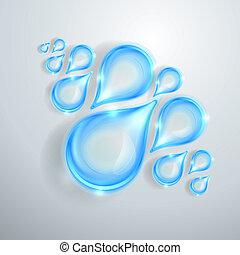 água azul, gotas, brilhante