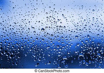água azul, gotas, condensação