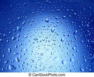 água azul, gotas, fundo