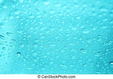 água, azul, gotas, fundo