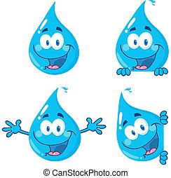 água azul, gotas