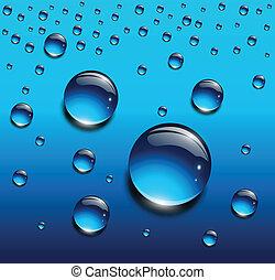 água, azul, gotas