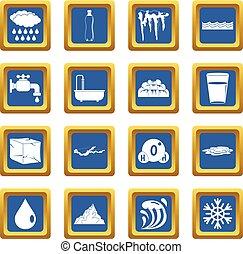 água, azul, jogo, ícones