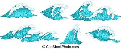 água azul, jogo, vindima, wave., ilustração, oceânicos,...
