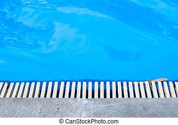 água azul, piscina exterior