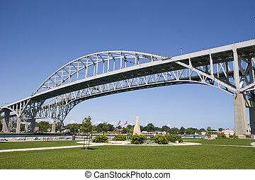 água azul, ponte