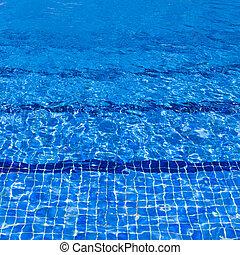 água azul, rasgado, piscina, natação