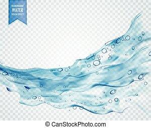 água azul, respingo, onda, com, bolhas, ligado, transparente, fundo
