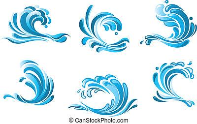 água azul, símbolos, ondas
