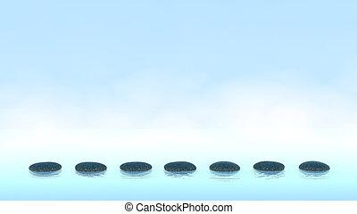água, azul, seixos, sobre