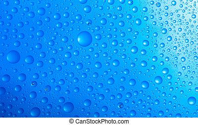 água, azul, sobre, gotas, fundo