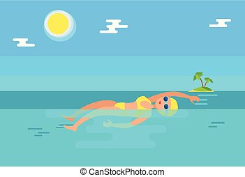 água, backstroke, vetorial, ilustração, nadador