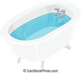 água, banheira, enchido, banho