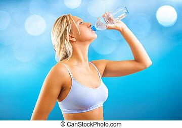 água, beautyful, menina, bebendo, esportes