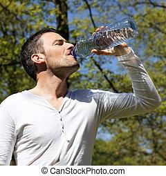 água, bebendo, bonito, homem